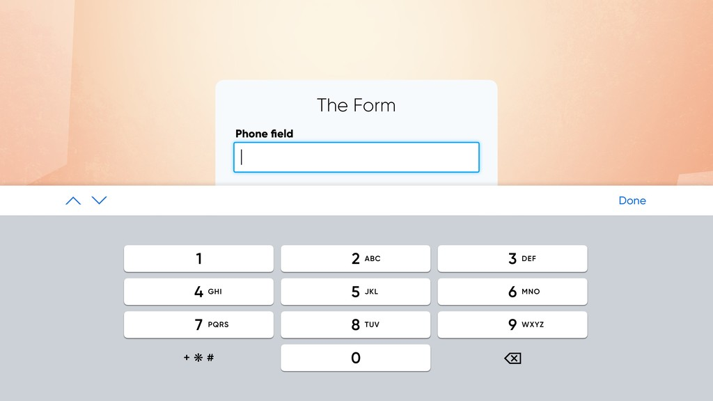 The Form Phone field SUBMIT | Done ⌫ + ❋ # 2 1 3...