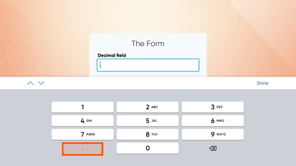 The Form Decimal field SUBMIT | Done ⌫ . 2 1 3 5...
