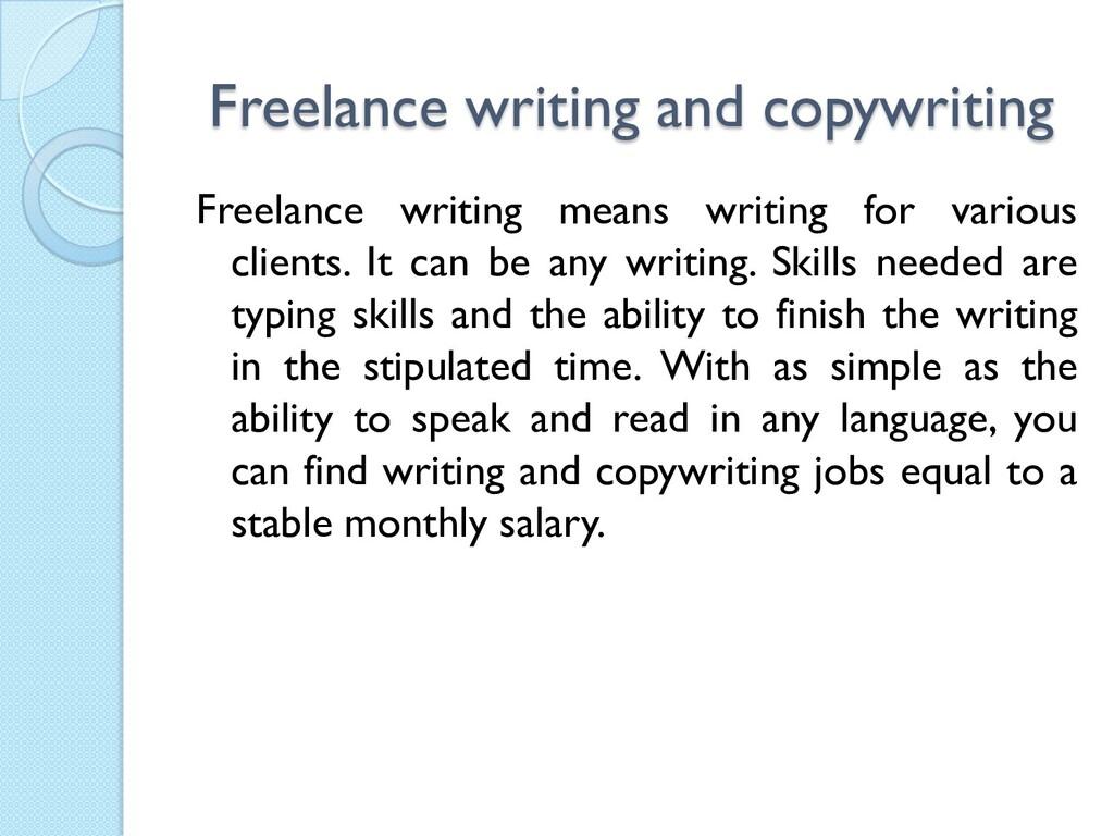 Freelance writing and copywriting Freelance wri...
