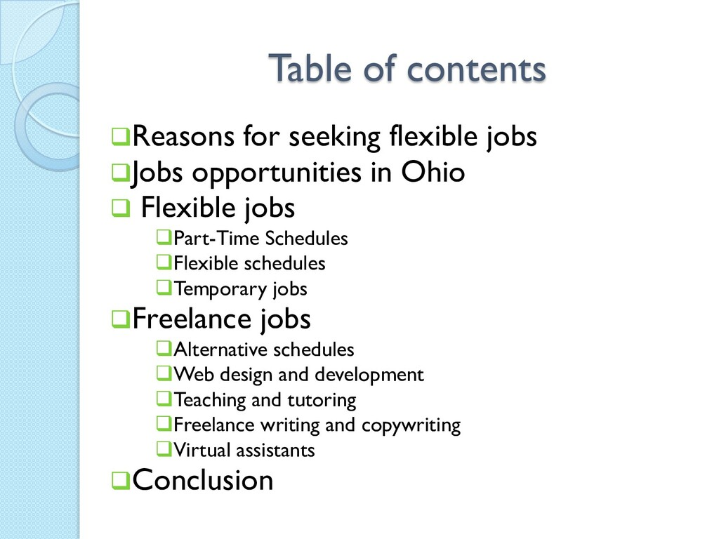 Table of contents Reasons for seeking flexible...