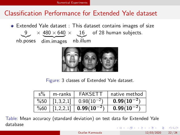 Numerical Experiments Classification Performance...
