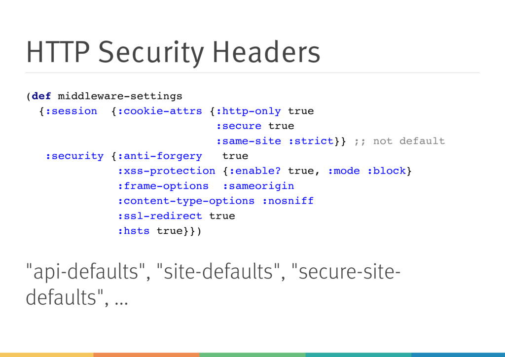 HTTP Security Headers (def middleware-settings ...