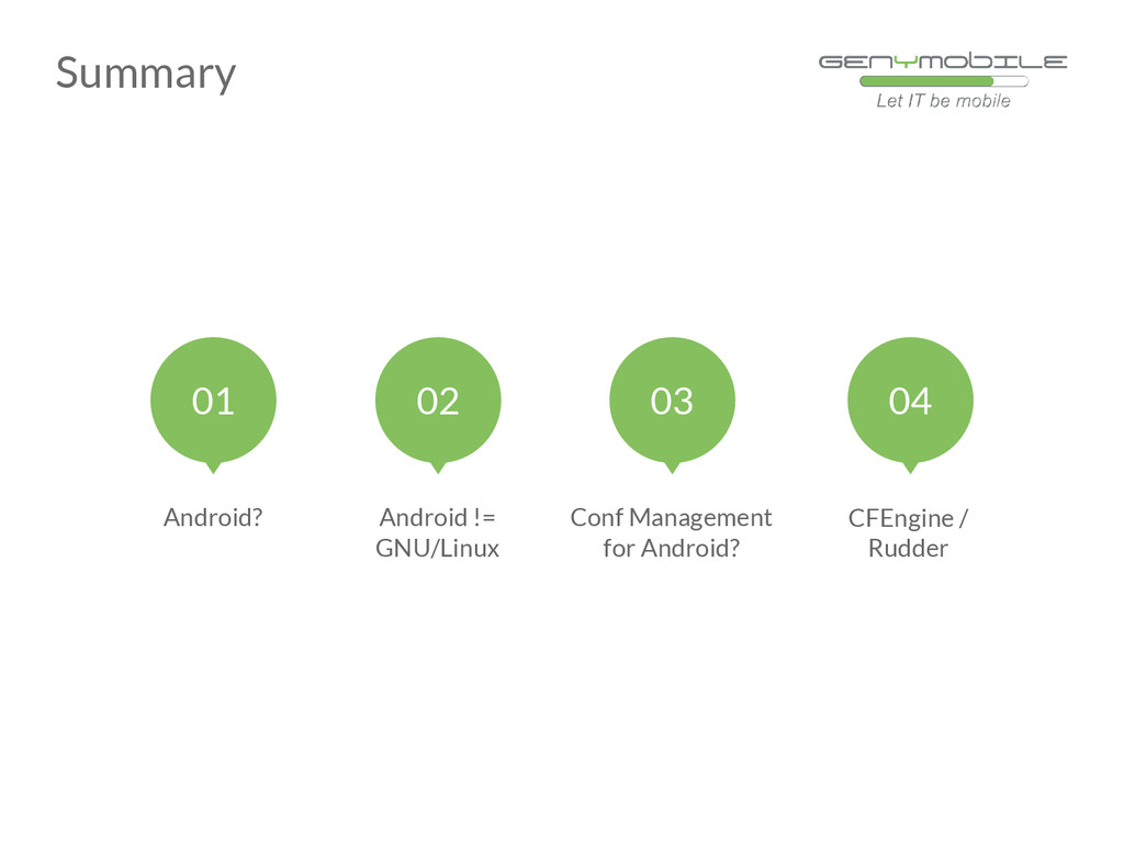 Summary Conf Management for Android? CFEngine /...
