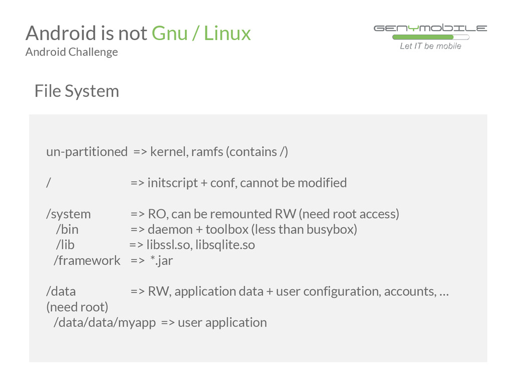 Android is not Gnu / Linux Android Challenge un...
