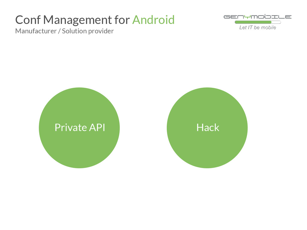 Private API Conf Management for Android Manufac...