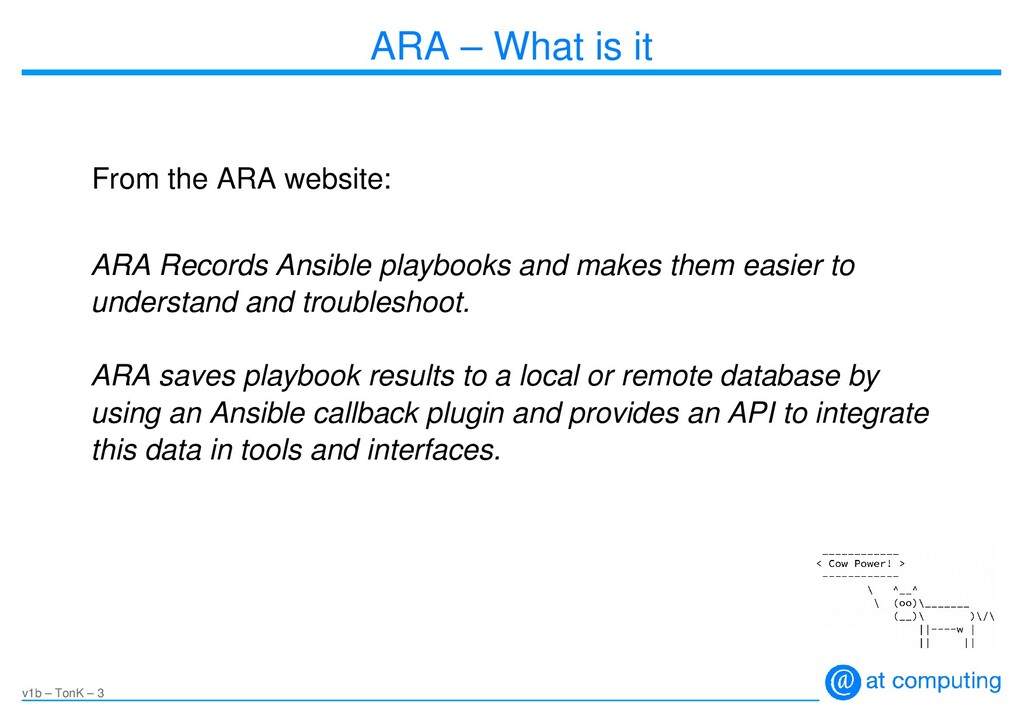 v1b – TonK – 3 ARA – What is it From the ARA we...