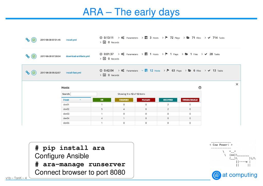 v1b – TonK – 4 ARA – The early days # pip insta...