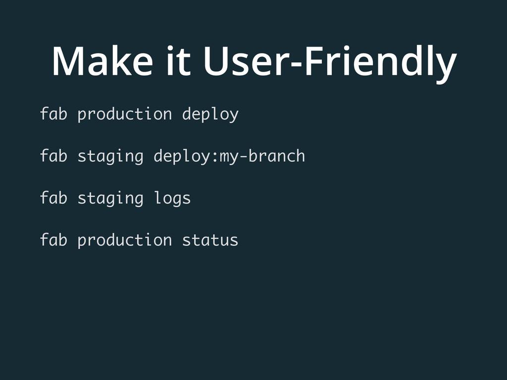Make it User-Friendly fab production deploy fab...