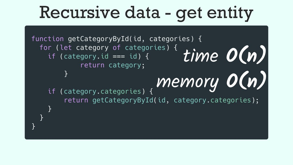 Recursive data - get entity memory O(n) time O(...