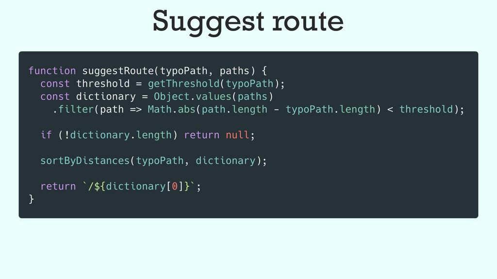 Suggest route