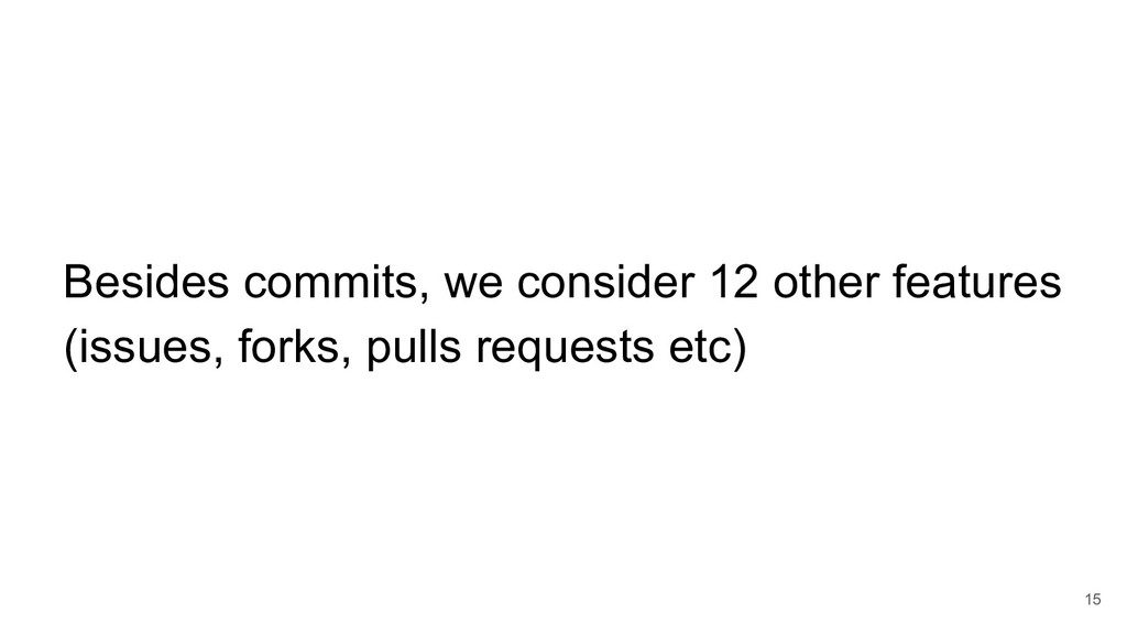 15 Besides commits, we consider 12 other featur...