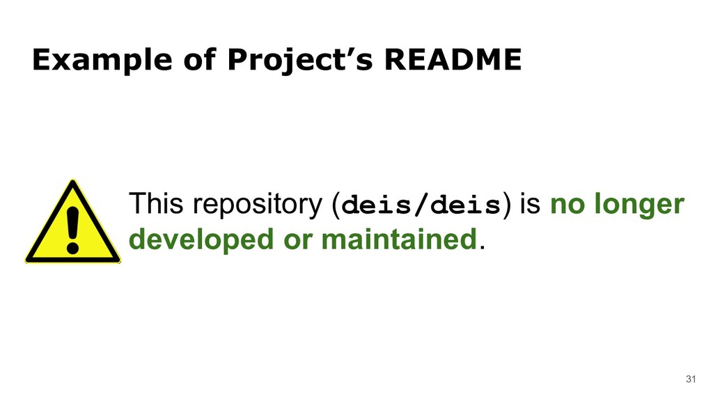 31 Example of Project's README This repository ...
