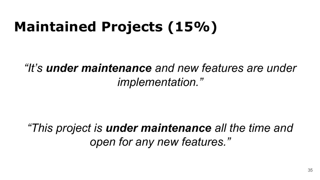 "Maintained Projects (15%) 35 ""It's under mainte..."