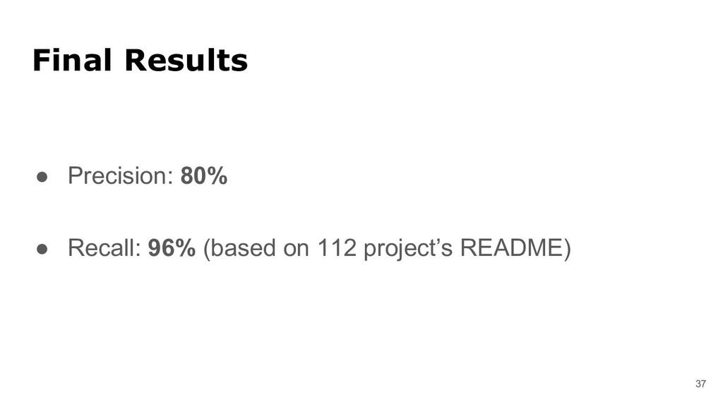 37 Final Results ● Precision: 80% ● Recall: 96%...