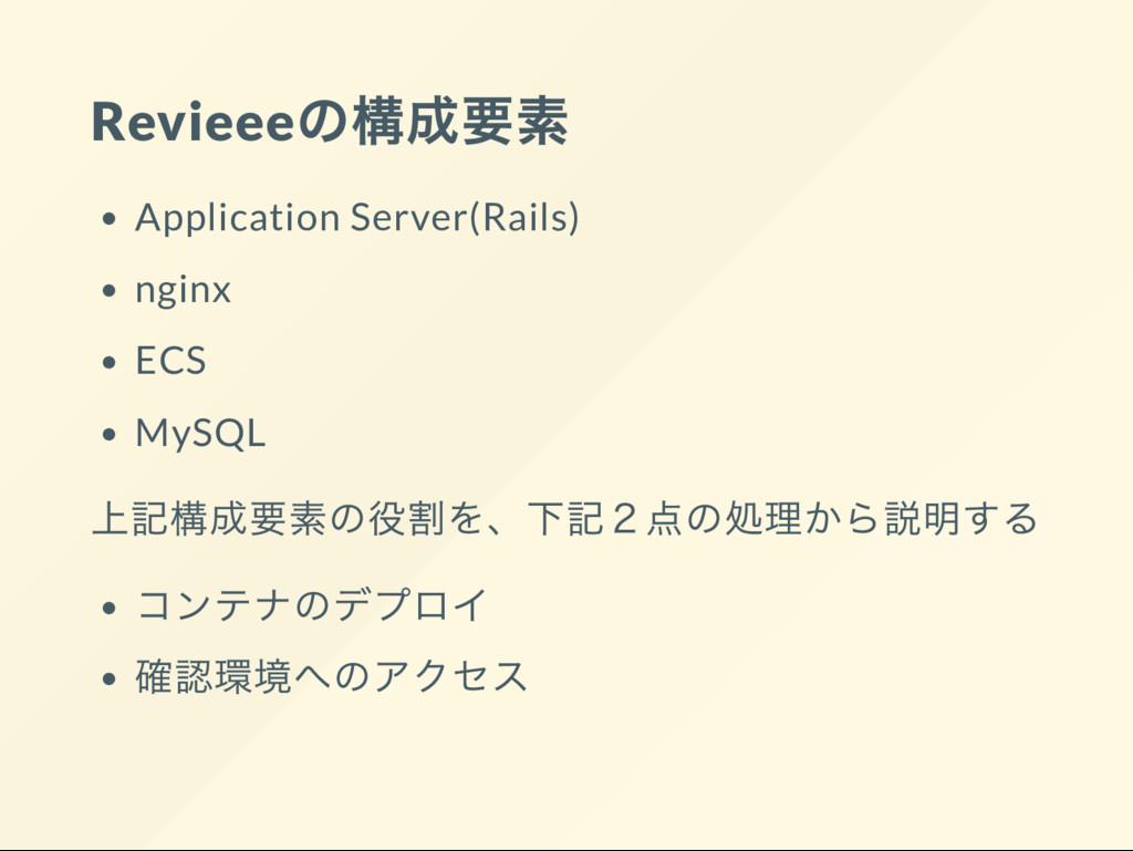 Revieee の構成要素 Application Server(Rails) nginx E...
