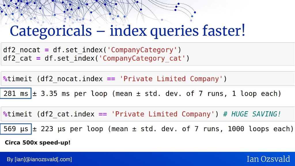 Categoricals – index queries faster! By [ian]@i...