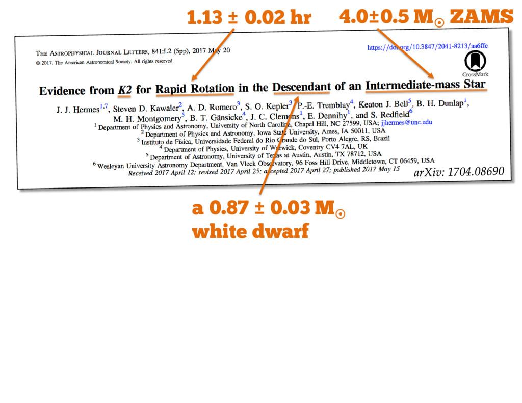 1.13 ± 0.02 hr a 0.87 ± 0.03 M¤ white dwarf 4.0...