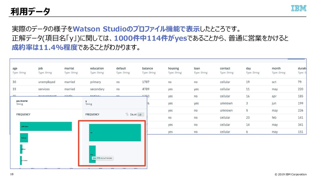 © 2019 IBM Corporation 18 利用データ 実際のデータの様子をWatso...
