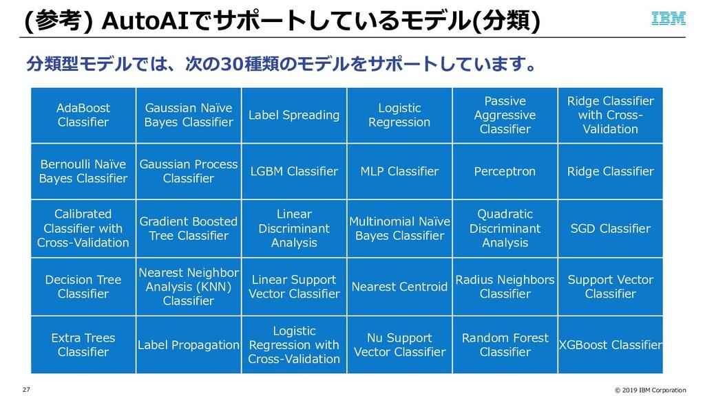 © 2019 IBM Corporation 27 (参考) AutoAIでサポートしているモ...