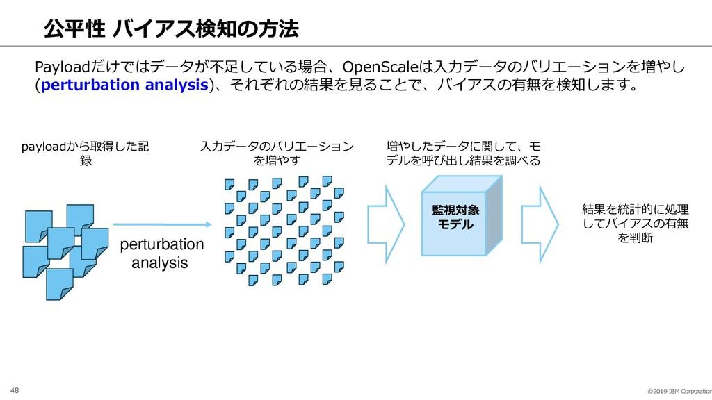 ©2019 IBM Corporation 48 公平性 バイアス検知の方法 perturba...