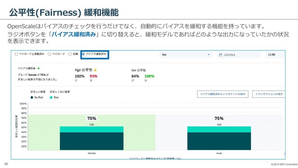 ©2019 IBM Corporation 50 公平性(Fairness) 緩和機能 Ope...