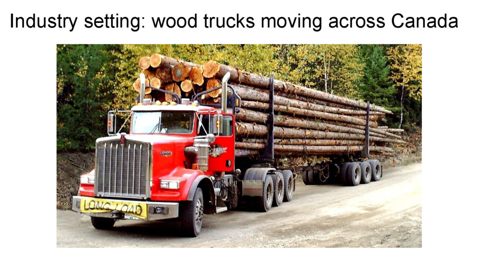 Industry setting: wood trucks moving across Can...