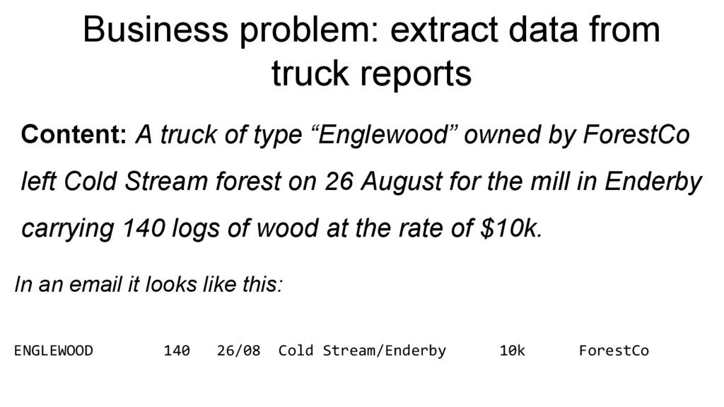 Business problem: extract data from truck repor...