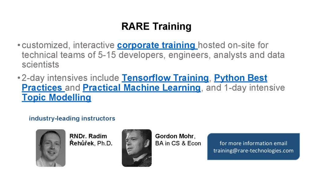 RARE Training •customized, interactive corporat...