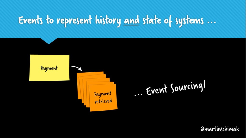 Events to represent history and state of system...