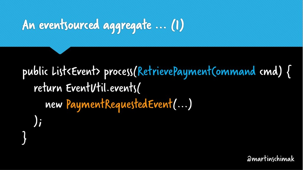 An eventsourced aggregate ... (1) public List<E...