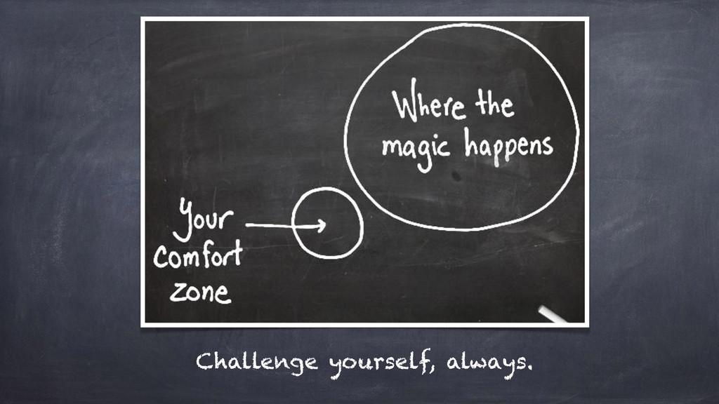 Challenge yourself, always.