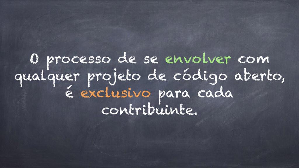 O processo de se envolver com qualquer projeto ...
