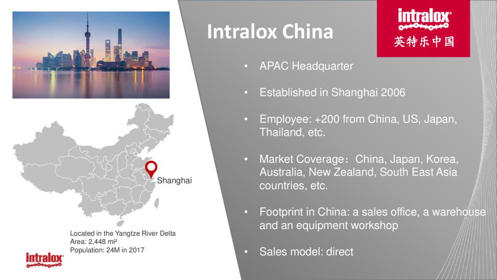 intralox.com Shanghai • APAC Headquarter • Esta...