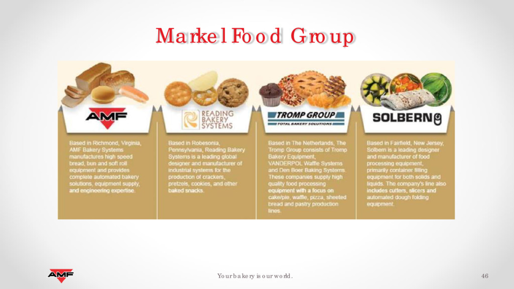 46 Your bakery is our world. Markel Food Group