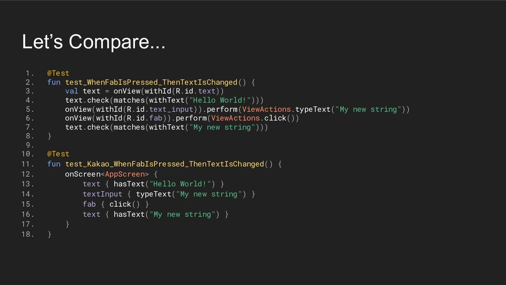 Let's Compare... 1. @Test 2. fun test_WhenFabIs...