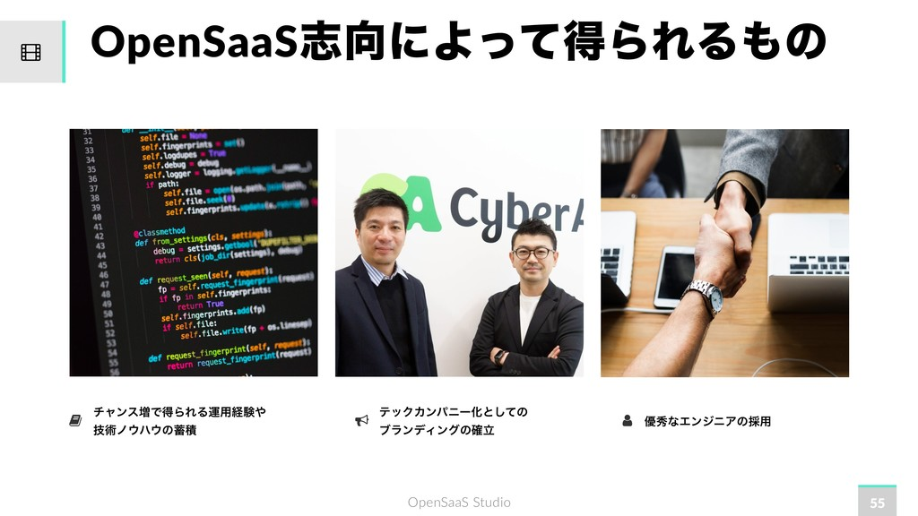 OpenSaaS Studio OpenSaaSࢤʹΑͬͯಘΒΕΔͷ 55 νϟϯε૿Ͱಘ...