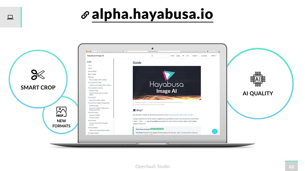 OpenSaaS Studio alpha.hayabusa.io 62 AI QUALITY...