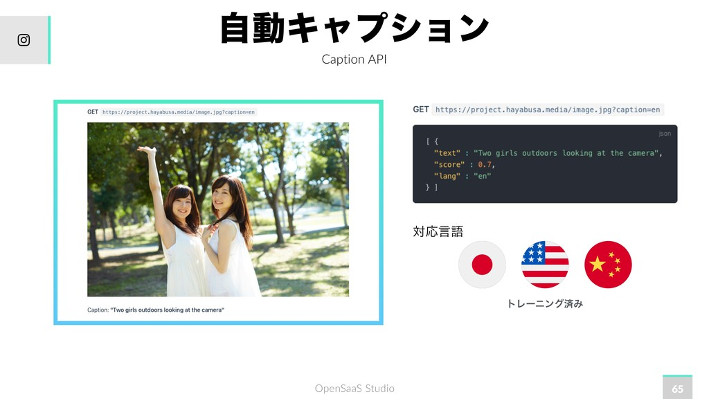 OpenSaaS Studio ࣗಈΩϟϓγϣϯ Caption API 65 ରԠݴޠ ɹɹ...