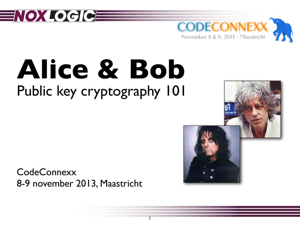 Alice & Bob CodeConnexx 8-9 november 2013, Maas...