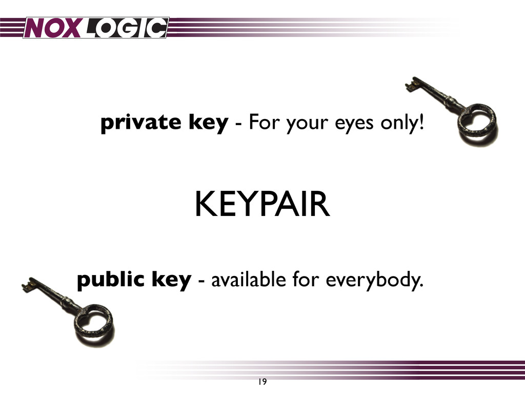 public key - available for everybody. 19 KEYPAI...