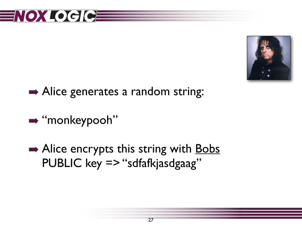 "➡ Alice generates a random string: ➡ ""monkeypoo..."