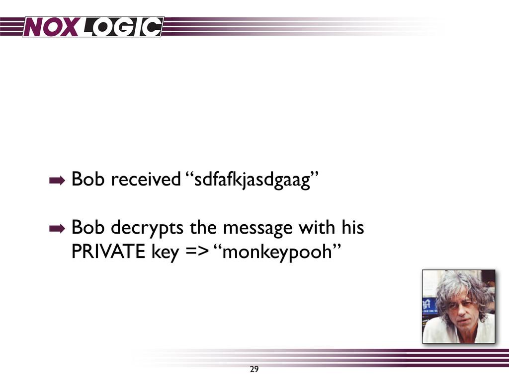 "➡ Bob received ""sdfafkjasdgaag"" ➡ Bob decrypts ..."