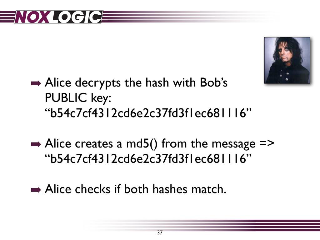 ➡ Alice decrypts the hash with Bob's PUBLIC key...