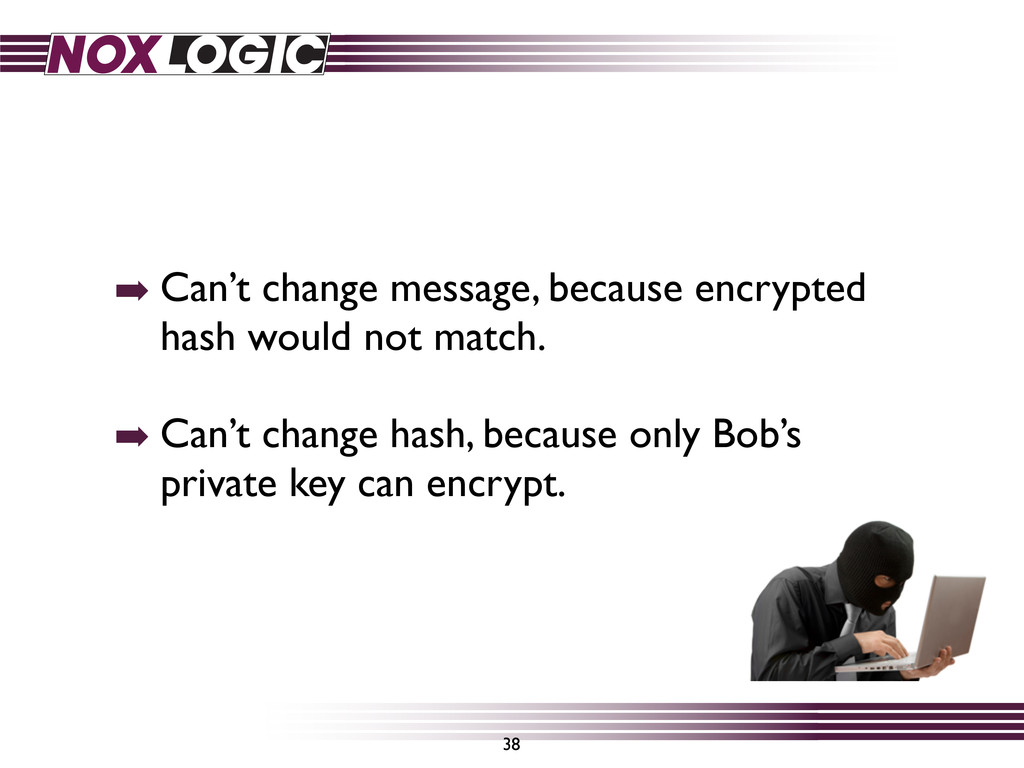 ➡ Can't change message, because encrypted hash ...
