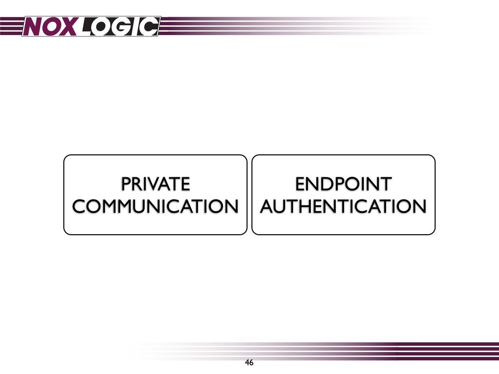 46 PRIVATE COMMUNICATION ENDPOINT AUTHENTICATION