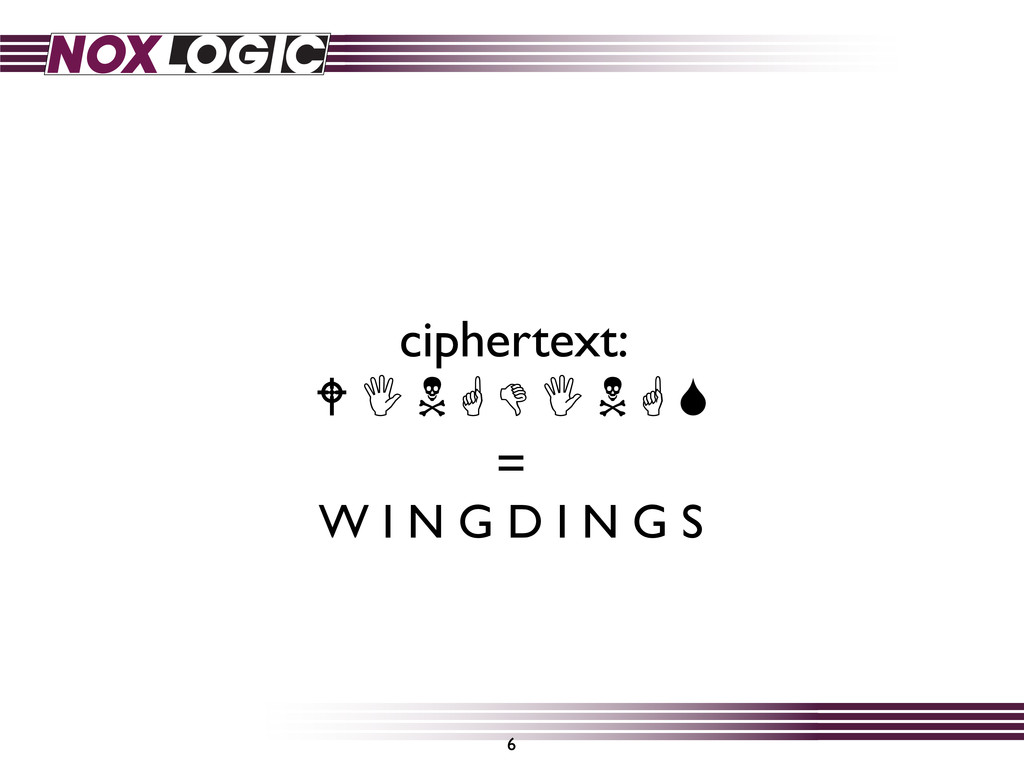 6 ciphertext:          = W I N G D I N...