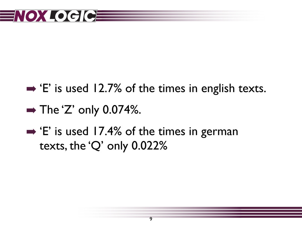 ➡ 'E' is used 12.7% of the times in english tex...