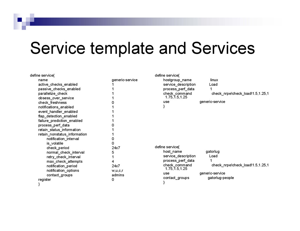 Service template and Services define service{ n...
