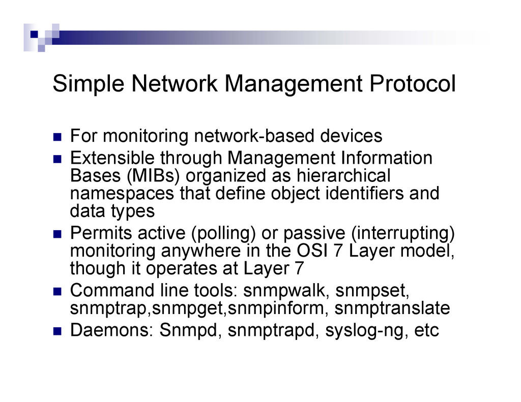Simple Network Management Protocol  For monito...