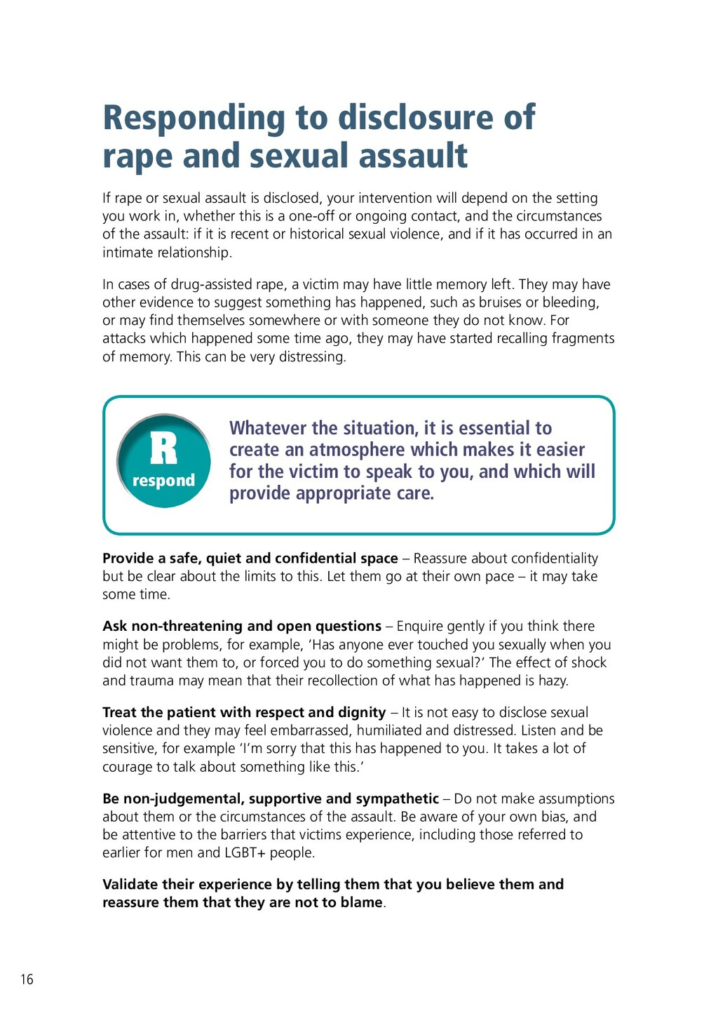Responding to disclosure of rape and sexual ass...
